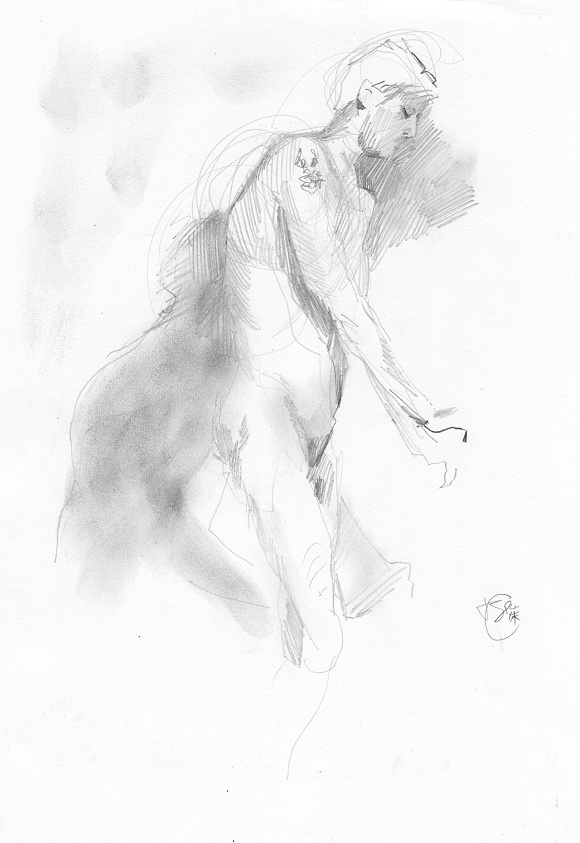 Pencil drawing male nude