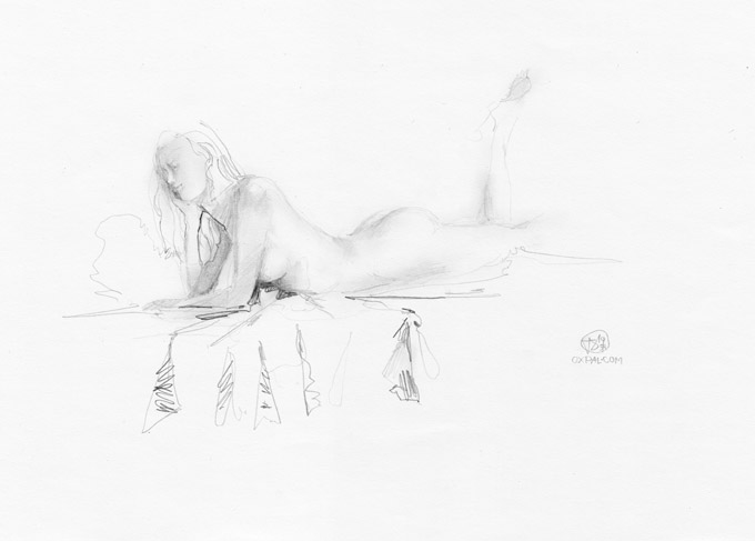 Pencil Drawing, Girl playful