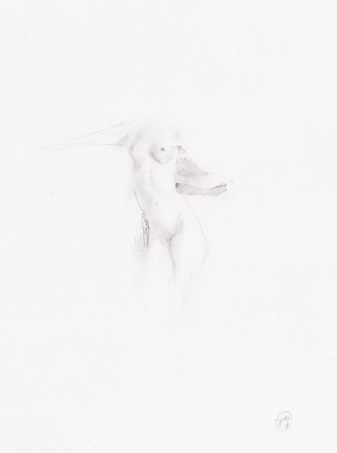 Female Nude Pencil Drawing