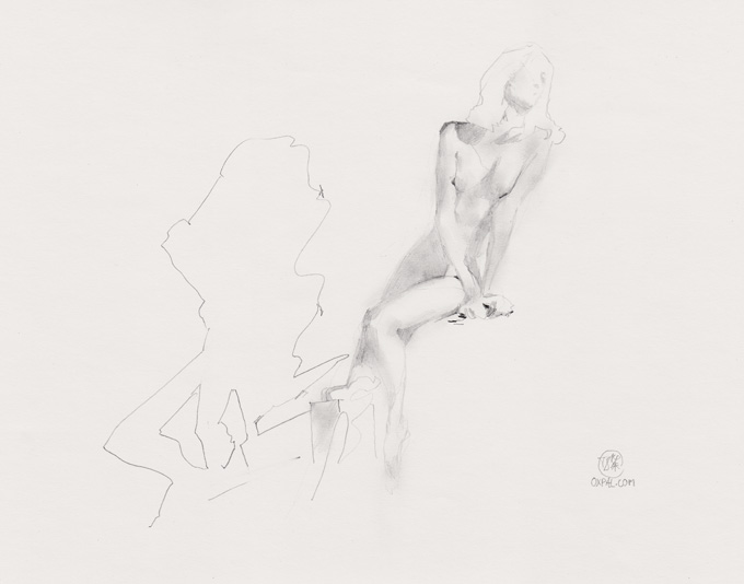 Sitting Life Drawing Model Pencil
