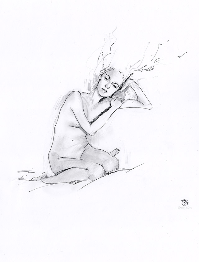 Ink and Pencil Figure Study