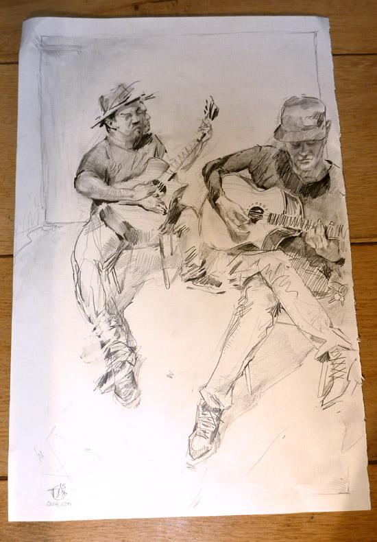Band playing - Pencil drawing