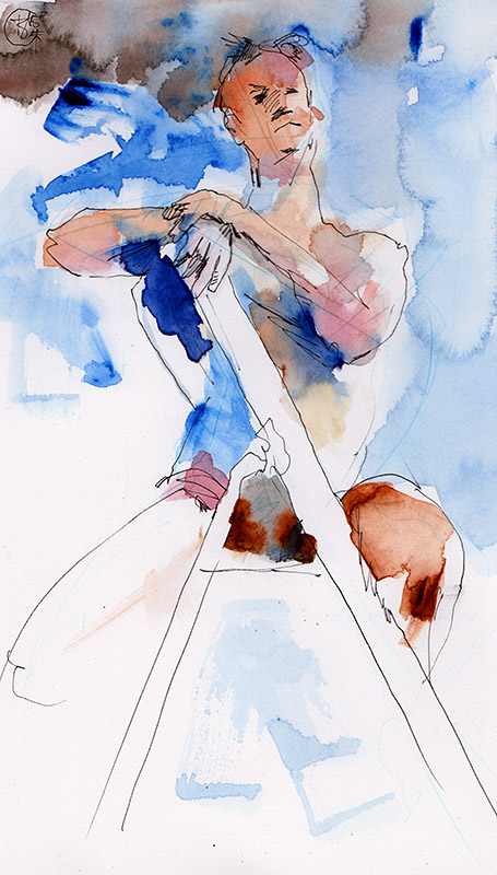 Figure on a ladder, Watercolor