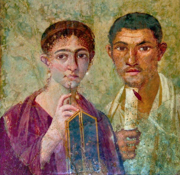 Wall Painting from Pompeii (Young Couple), Retouched Version