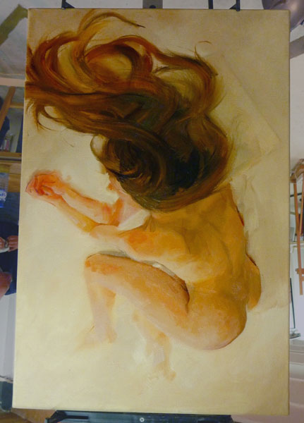 Yola flipped - Work in Progress - Oil on canvas, 40x60