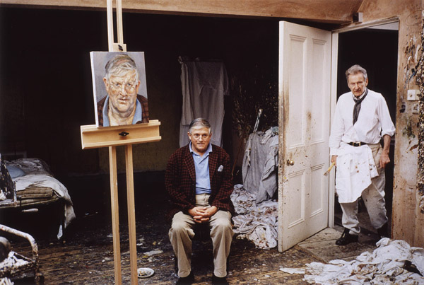 David Hockney in Lucian Freud's Studio