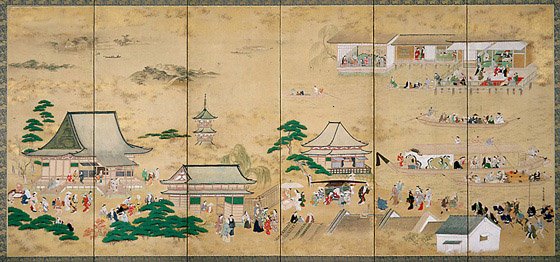 Hishikawa Moronobu - 'Autumn at Asakusa Temple' (17th century)