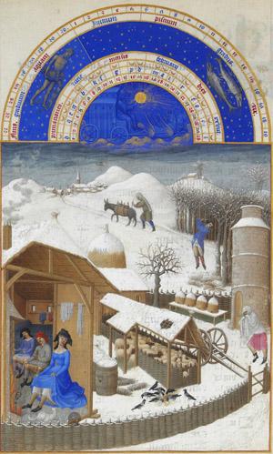 Limbourg Brothers - 'Les Très Riches Heures du Duc de Berry - February' (ca. 1410)