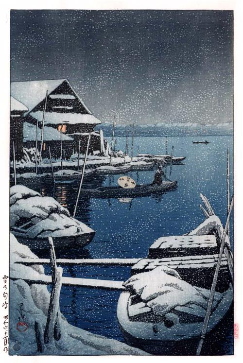Kawase Hasui - Snow at Mukojima (1931)