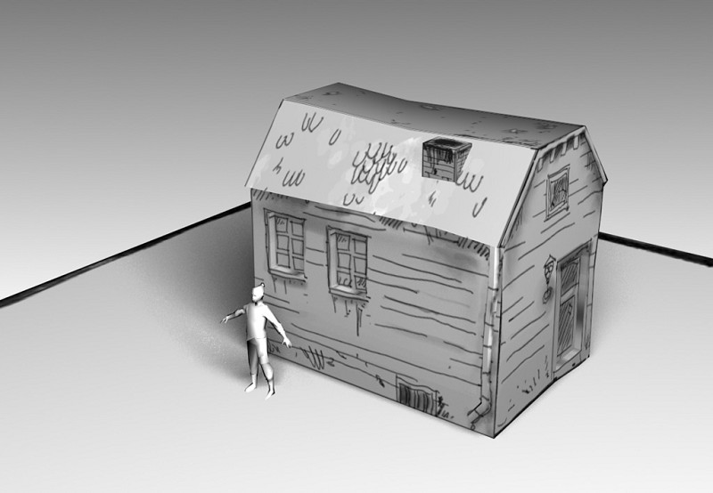3D house with line texture