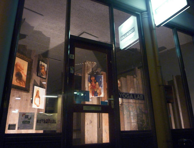 The Yoga-Lab art display at night.