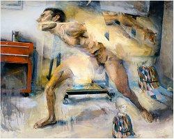 Kent Williams - Fragmented Figure In Studio Interiour (2008)