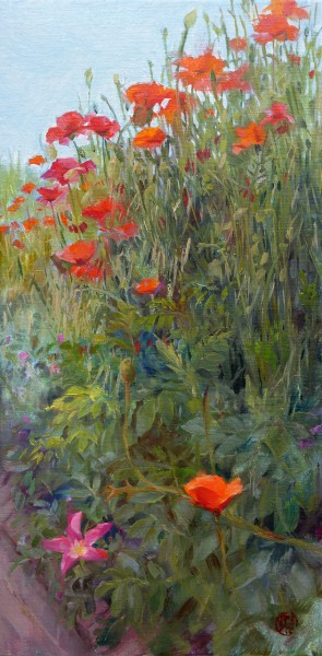 Poppy Flowers, Brush Stroke View