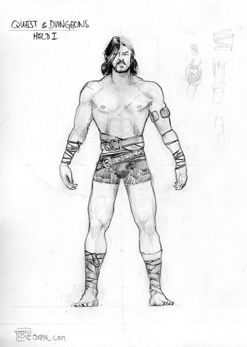 pencil sketch male hero