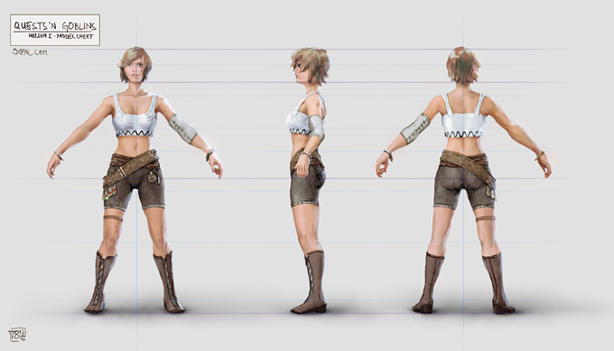 Female hero model sheet.