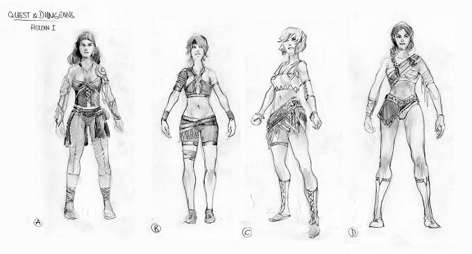 Heroine Pencil Sketches