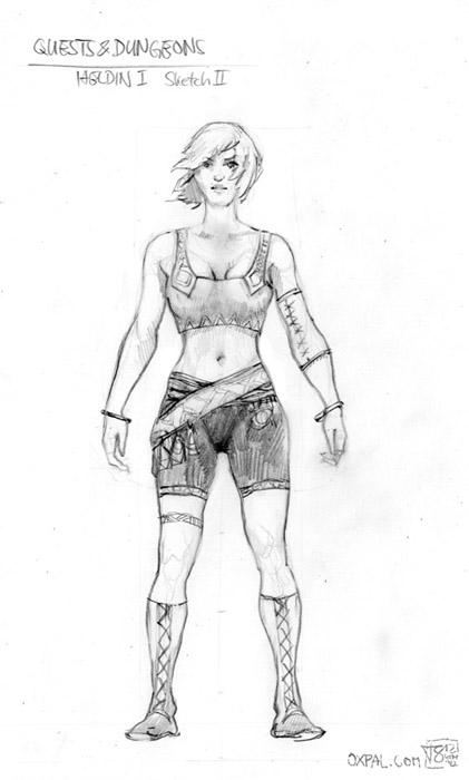 Heroine design pencil sketch