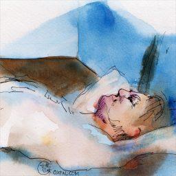 Figure In Blue Light