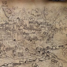 Hand Drawn Medieval Town Map
