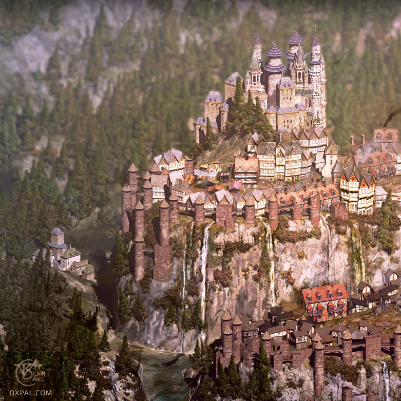 Medieval City Map Illustration