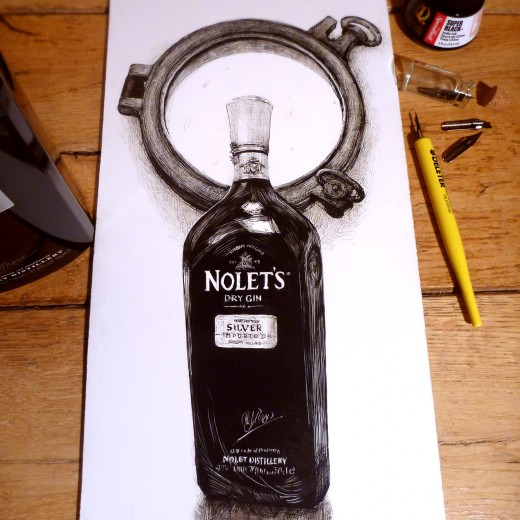 Gin Bottle Ink