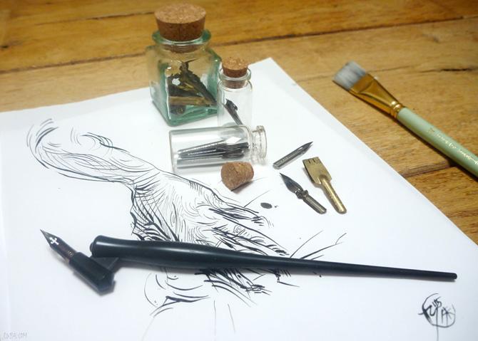 Dip Pens and Oblique Flex Nib Pen