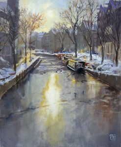 Amsterdam Winter Oil Painting