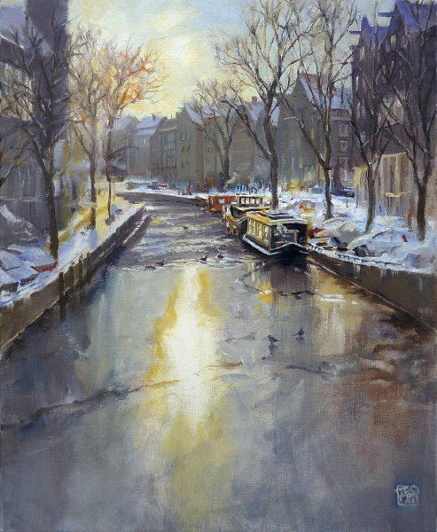 Amsterdam Frozen Channel in Winter