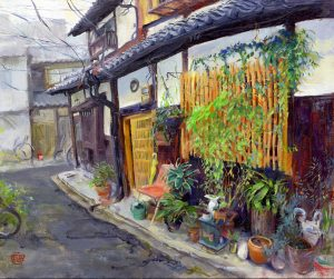 Oil Painting of Kyoto House